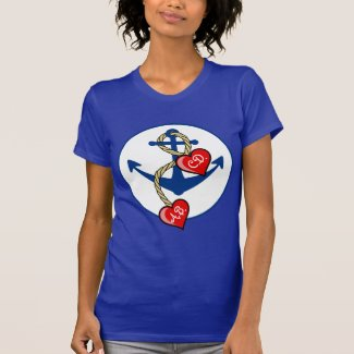 Monogramed Anchor with hearts Tee Shirt