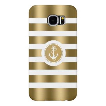 Monogramed Gold & White Stripes Nautical Anchor Samsung Galaxy S6 Case