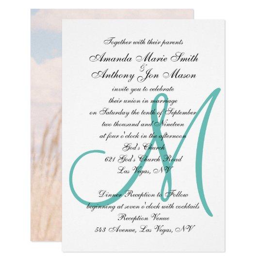 Monogramed Initial Upload Your Photo Wedding Invitation