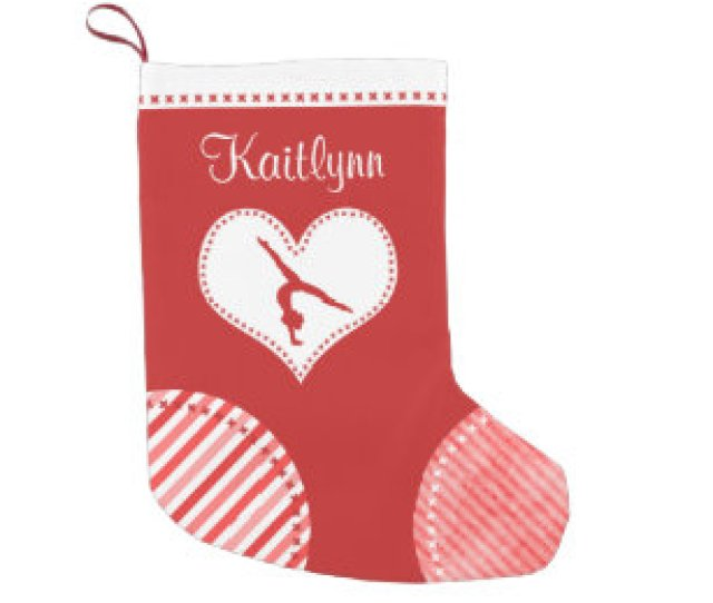 Monogrammed Christmas Patches Gymnastics Small Christmas Stocking
