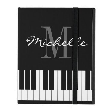 Monogrammed iPad 2 3 4 case with piano keys