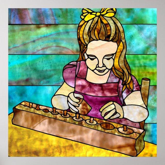 Montessori Child with Sensorial Cylinder Block Poster