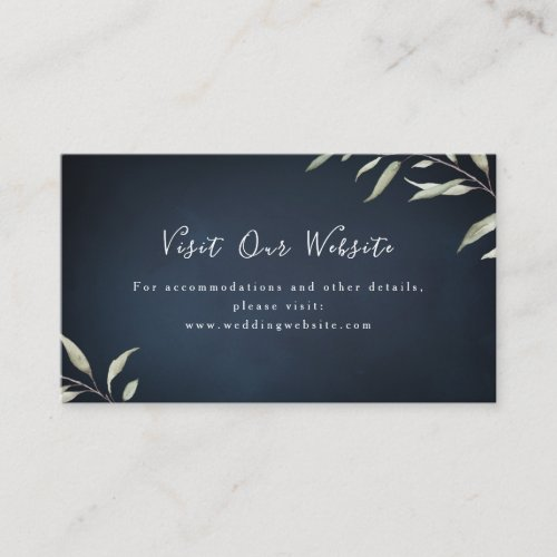 Moody navy greenery wedding website Insert card