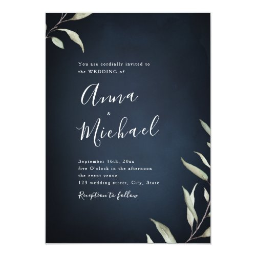 Moody navy watercolor botanical greenery wedding invitation