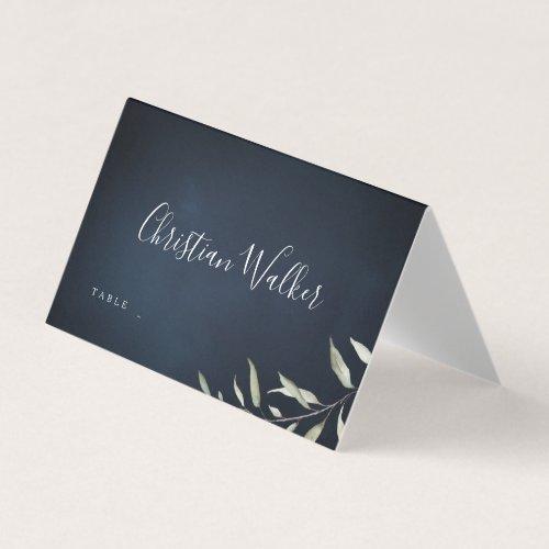 moody navy watercolor botanical greenery wedding place card