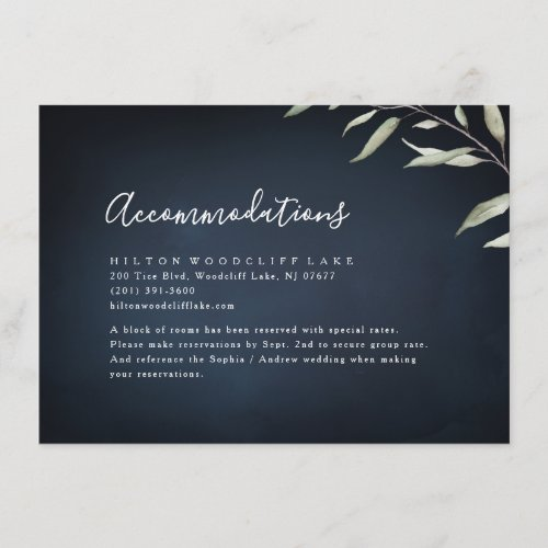 Moody navy watercolor greenery accommodation enclosure card