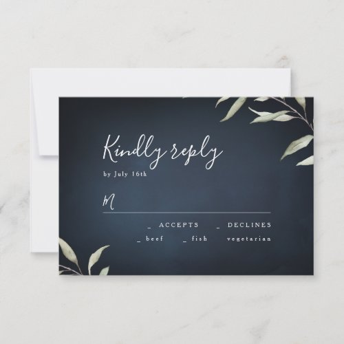 Moody navy watercolor greenery wedding RSVP