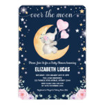 Moon Baby Shower / Girly Elephant Twinkle Star Invitation