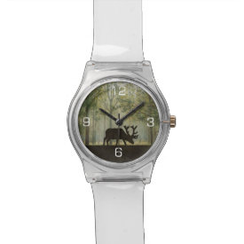 Moose in Forest Illustration Wristwatches