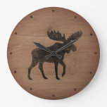Moose Silhouette Rustic Style Large Clock