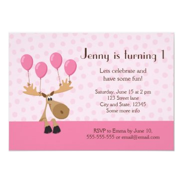 Moose with balloons girls birthday party invite