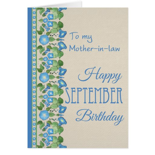 Morning Glory September Birthday: Mother-in-law Card | Zazzle