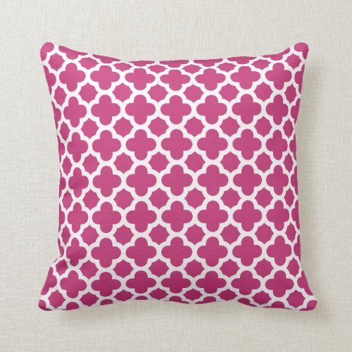 Moroccan Quatrefoil Pattern Magenta Pink Throw Pillow