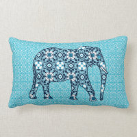 Moroccan Tile Elephant, Cobalt, Navy & Light Blue Lumbar Pillow
