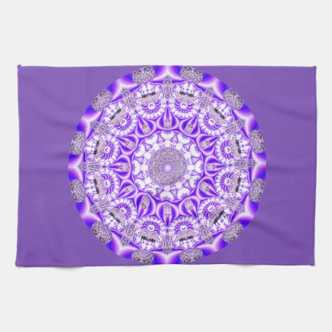 Mosaic Lace Mandala, Abstract Violet Purple Towel