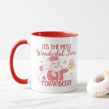 Most Wonderful Time for a Beer Santa Mug