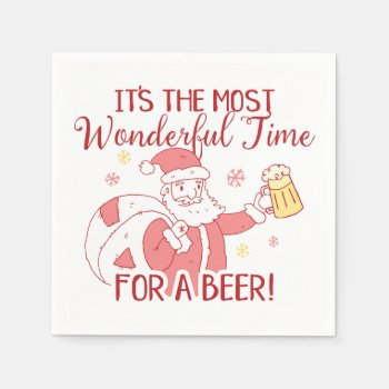 Most Wonderful Time for a Beer Santa Napkin