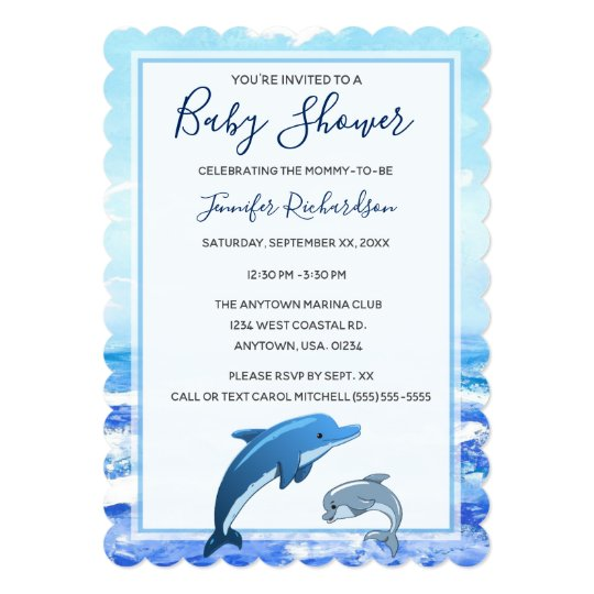 Mother And Baby Dolphin Ocean Theme Shower Invitation