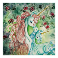 Mother and Baby Unicorn Poster