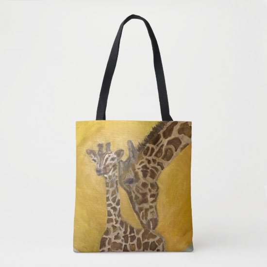 Mother and Child Giraffes Tote Bag