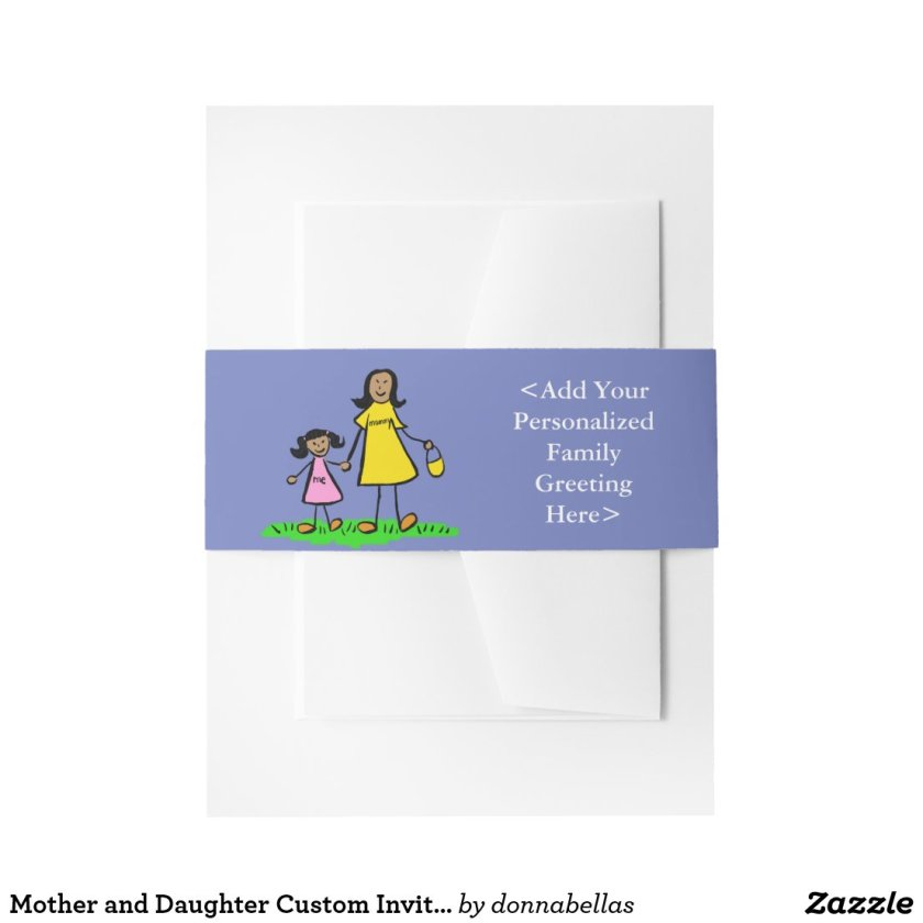 Mother and Daughter Custom Invitation Belly Bands Invitation Belly Band