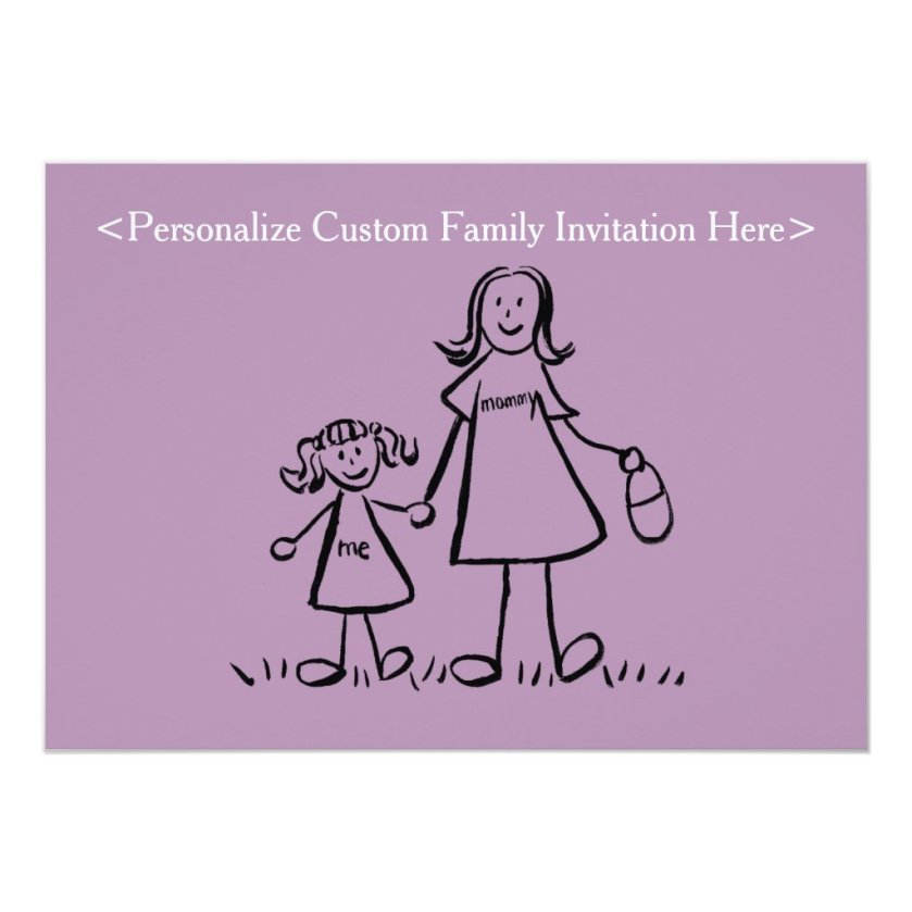 Mother and Daughter Family Art Custom Invitations