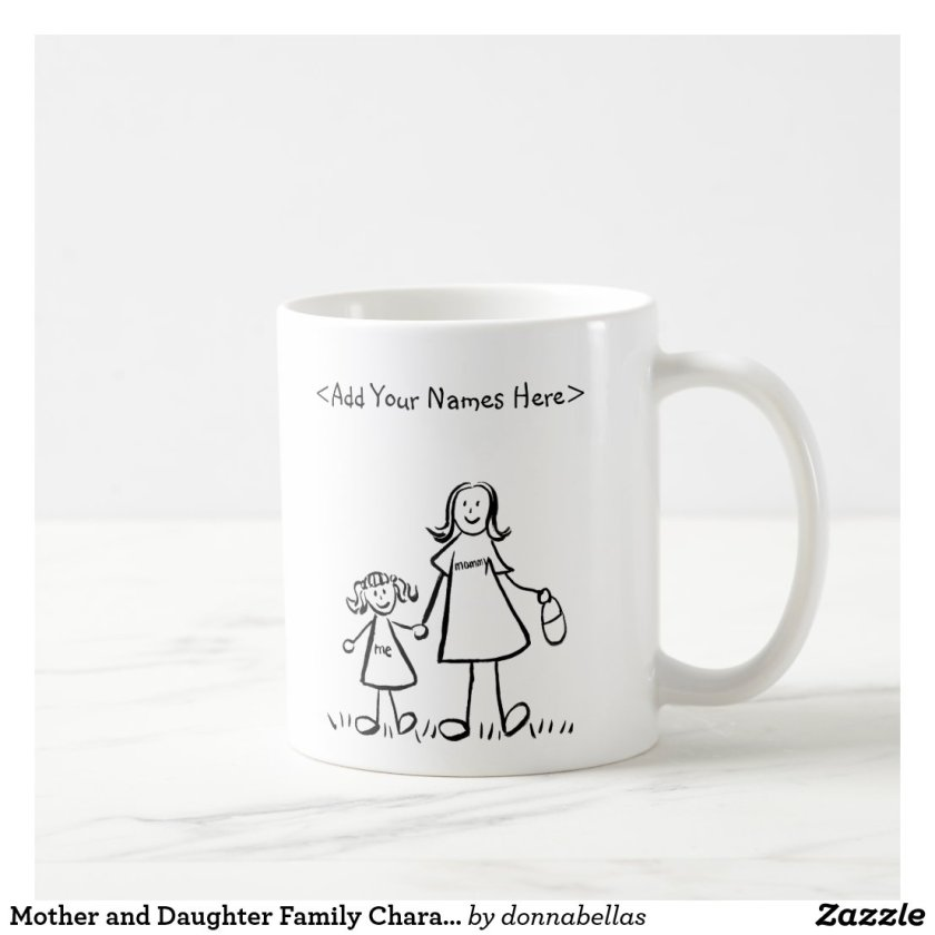 Mother and Daughter Family Characters Mug