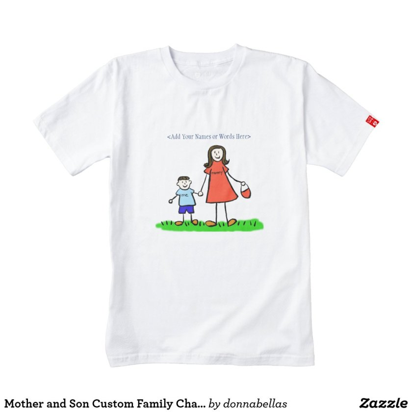 Mother and Son Custom Family Characters Art Shirt