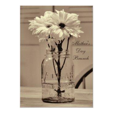 Mother's Day Brunch Sepia Mason Jar & Daisies Card