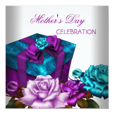 Mother's Day Purple Teal Pink Roses floral Flowers Invitation