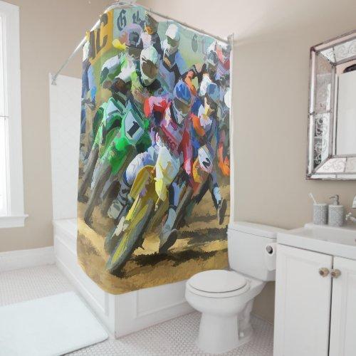 Motocross Racing Digital Art Shower Curtain