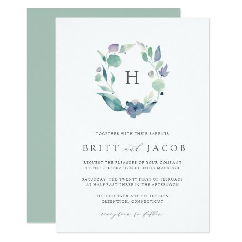 Mountain Meadow   Floral Monogram Wedding Invitation