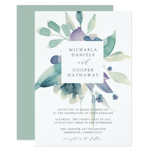 Mountain Meadow Watercolor Floral Frame Wedding Invitation
