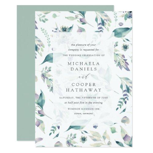 Mountain Meadow Watercolor Floral Pattern Wedding Invitation