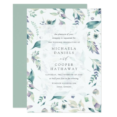 Mountain Meadow Watercolor Floral Pattern Wedding Invitation
