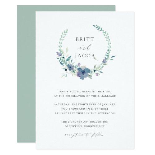 Mountain Meadow   Watercolor Floral Wreath Wedding Invitation