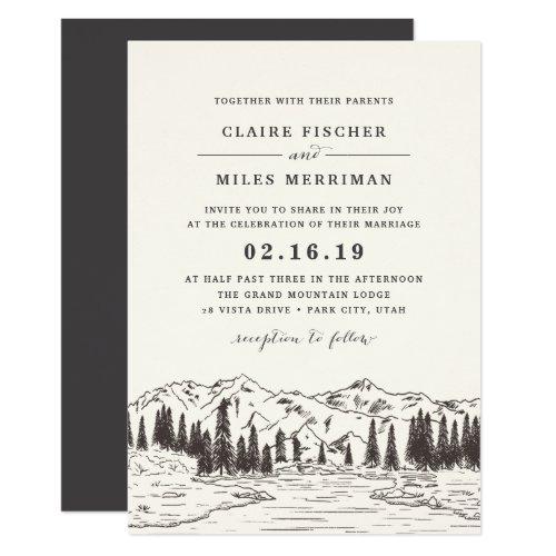 Mountain Sketch Wedding Invitation