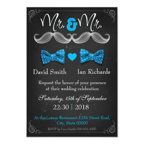 Moustache and bow for Mr and Mr Invitation