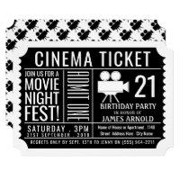 Movie Night Fest, Cinema Ticket, Birthday Party Card