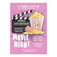 Movie Night Film Cinema Birthday Party Pink Invite