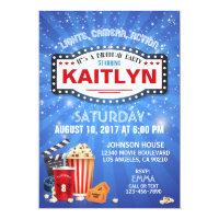 Movie Night Sleep Over Birthday Party Card