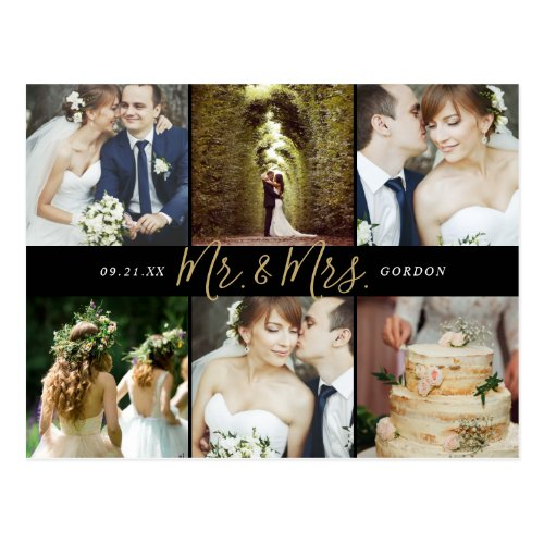 Mr. and Mrs. Photo Collage Wedding Thank You Postcard
