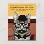 Mr. Cat Announces Move with New Address Announcement Postcard