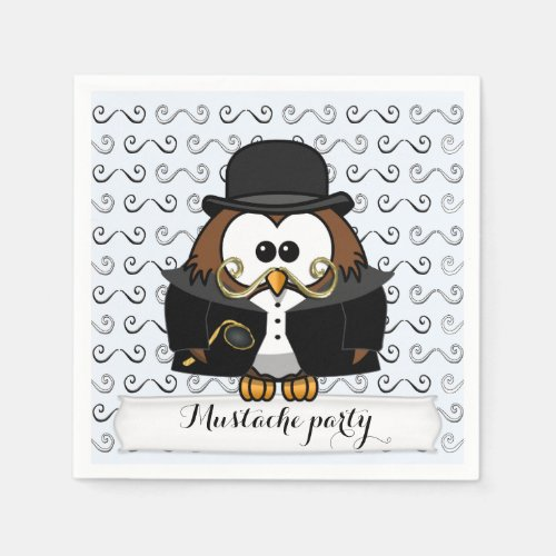 Mr. Mustache Owl Napkin