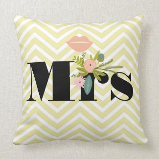 Mr Mustache Pale Yellow White Teal Zig Zag Pillows