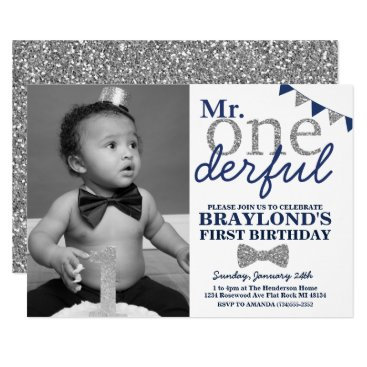 Mr Onederful Photo Invitation, Blue and Silver Invitation
