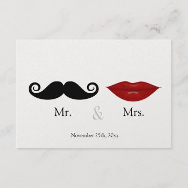 Mr. & the Mrs (Lips and the Stache) Wedding RSVP