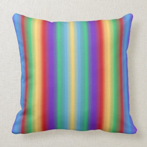 Multi Color Stripes Throw Pillow