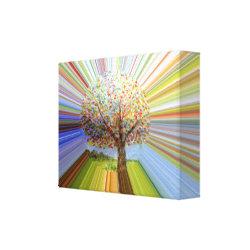 Multicolored Stripes Autumn Tree Art Canvas Print