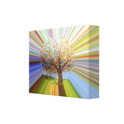 Multicolored Stripes Autumn Tree Art Canvas Print